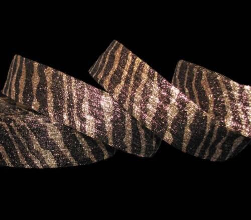 """5 Yards Animal Print Tiger Stripe Gold Brown Metallic Safari Wired Ribbon 1 3//8/"""""""