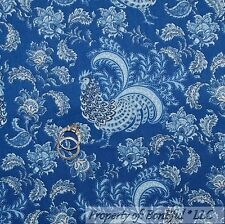 BonEful Fabric FQ Cotton Quilt Blue White Bird Toile Flower Leaf Rooster Kitchen