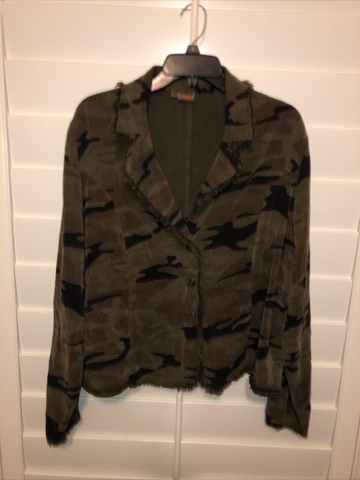 Tianello Womens Penelope Jacket Camo Green Button Front Size XL