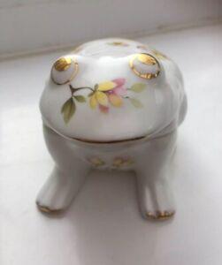 Vintage-China-Frog-Trinket-Dish-Casuarina-Heron-Fine-Bone-China-Floral