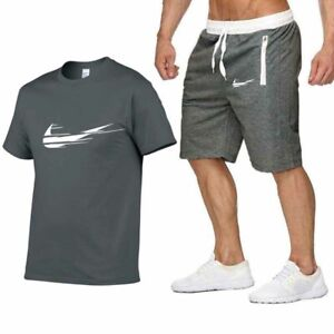 Gray-Mens-Gmy-Jogging-Short-Sleeve-Set-T-Shirt-Top-Shorts-Suits-Sport-Tracksuits