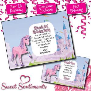 Personalised Unicorn Kids Birthday Party Invitations Thank You