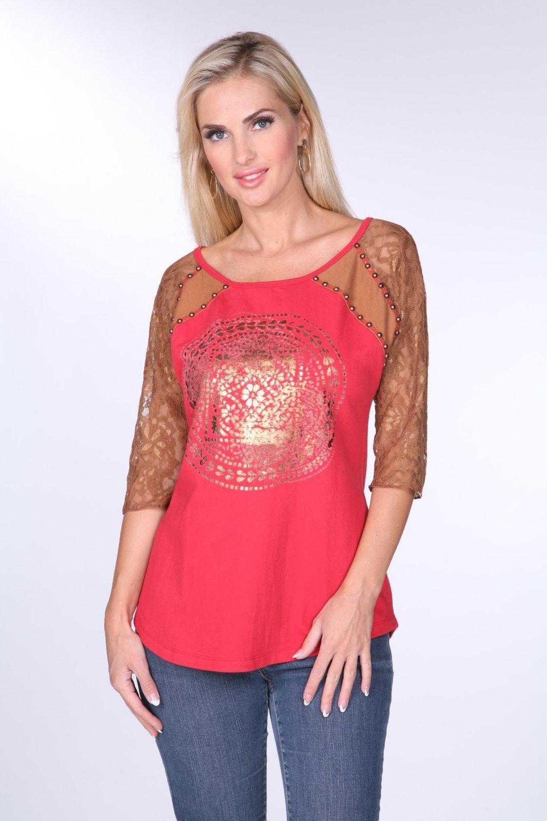 Woherren T-Shirt Top Shirt rot Bronze Krista Lee Jordana Lace Sleeves Embellished