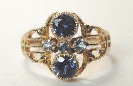 Antique Ostby Barton Synthetic Sapphires 10K Yellow gold Ring Size 6 UK-L1 2