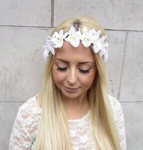 White tropical orchid flower garland headband hair crown boho image is loading white tropical orchid flower garland headband hair crown mightylinksfo