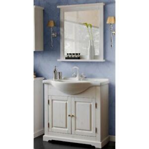 Badm bel set badezimmerset 3 tlg waschtisch 85cm spiegel for Badmobel set massivholz