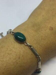 Vintage-Genuine-Green-Chrysoprase-Gemstones-925-Sterling-Silver-Deco-Bracelet