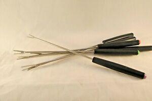 Fondue-skewers-forks-multicolor-tips-metal-with-black-plastic-handles-Set-of-6