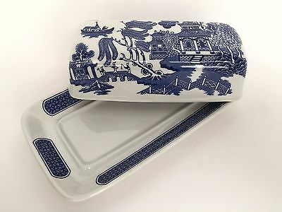 Churchill Blue Willow Covered Butter Dish Vintage English Pottery