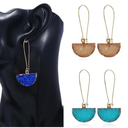 LC/_ Women Shiny Rhinestone Fragments Semicircular Dangle Long Hook Earrings Ad