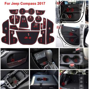15pcs Non-slip Interior Door Slot  Rubber Cup Holder Mat For Jeep Grand Cherokee