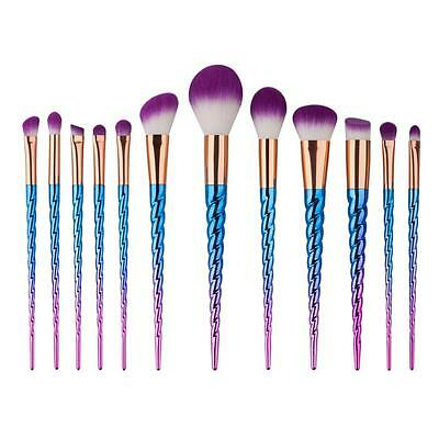 2017 Fashion Unicorn Makeup Brushes Set Rainbow hair Blusher Powder Brush kit