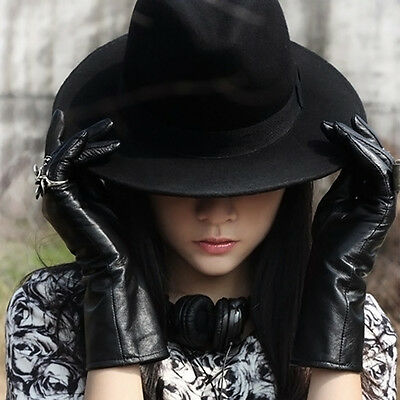 Vintage Women Wide Brim Ribbon Warm Wool Blend Felt Hat Bowler Trilby Fedora Cap