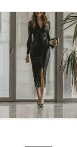 Zara fw20/21 Schwarz Funkelnd Kragen gerafft Midi Shirt Kleid Größe XL Bnwt