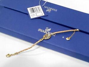 0a8ca6446ebca Details about Swarovski Vanilla Golden Shadow Bracelet, Leather Crystal  Authentic MIB 5032764