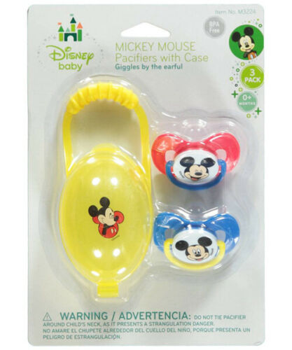 """Disney Mickey Mouse /""""Giggles/"""" 2-Pack Pacifiers with Case"""