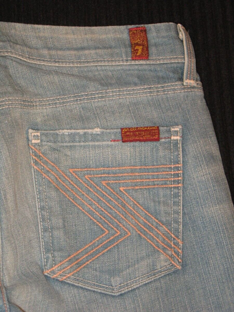 7 For All Mankind Womens Flynt Bootcut Jeans Sz 26 w Stretch Distressed Wash