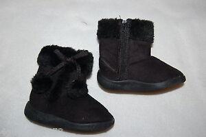 Toddler Baby Girls Black Mock Suede Boots Faux Fur Trim
