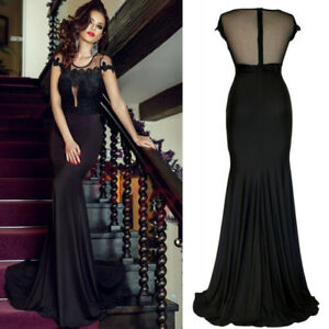 Formal-Wedding-Party-Dress-Maxi-Long-Train-Gown-Floral-Sleeve-Black-Insert-Mesh