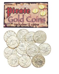Pirate Buccaneer Caribbean Gold Coins Coin Money Treasure Accessory Costume NEW