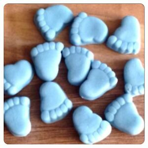 30 edible blue baby feet boy shower cake decorations for Baby feet decoration