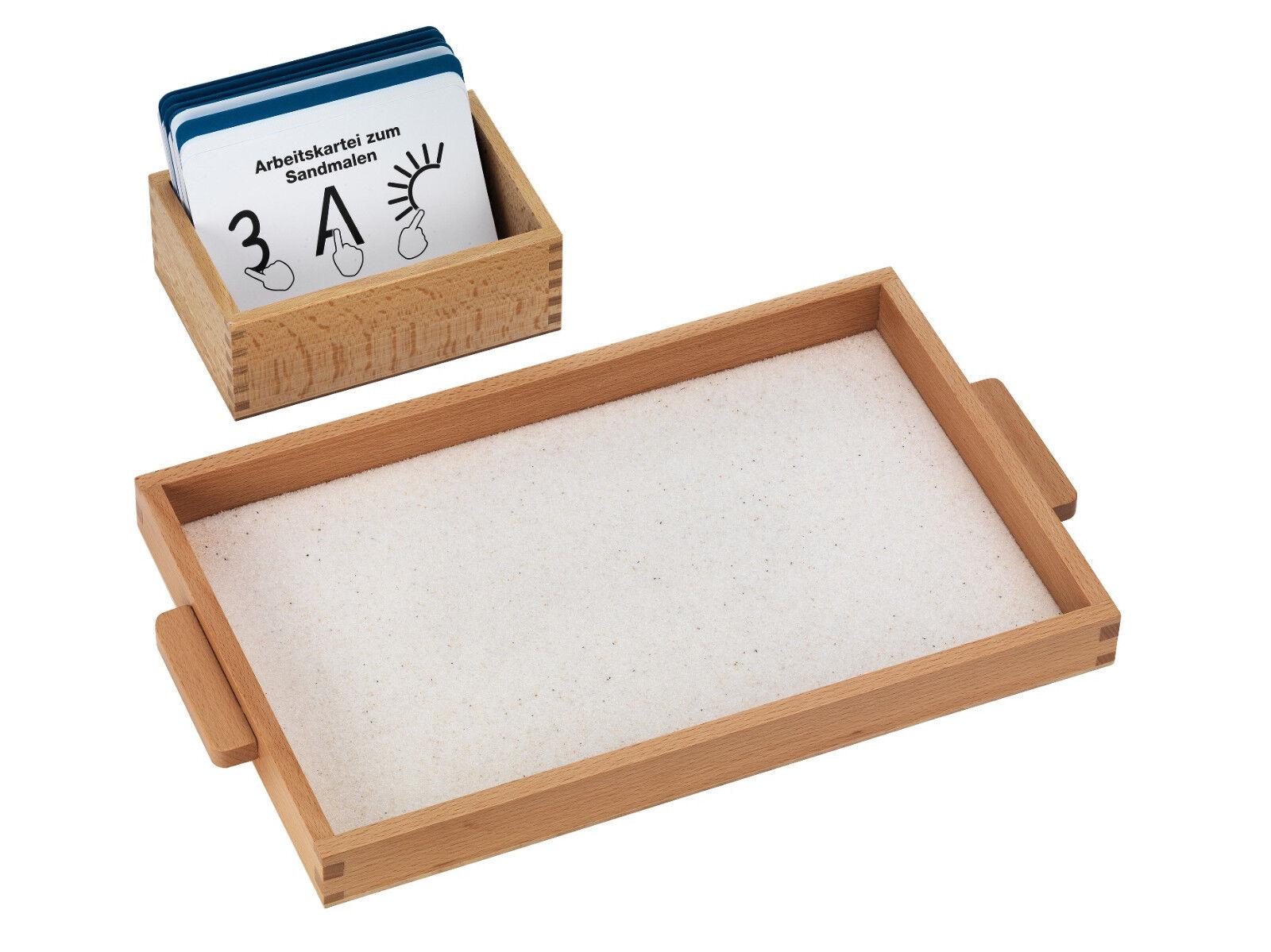 Perfekt Sandmalen mit Tablett, Sand und großer Arbeitskartei Montessori-Material