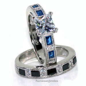 thin blue line wedding ring thin blue line engagement ring set sterling silver cz 7969
