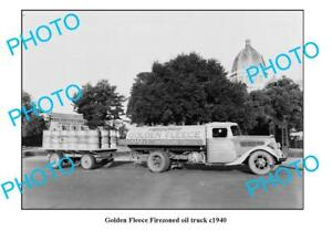 OLD-6-x-4-PHOTO-GOLDEN-FLEECE-FIREZONED-OIL-TRUCK-c1950