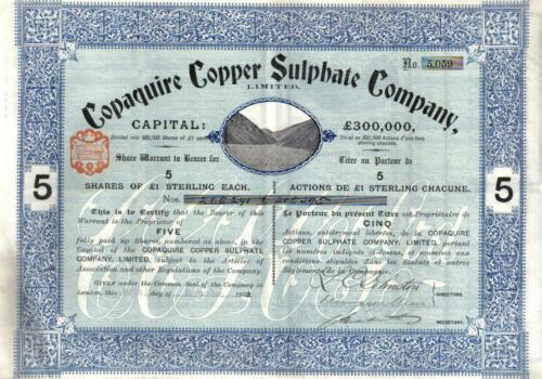Chile UK GB 1902 Bond Copaquire Copper Sulphate Co 5 shares £5 Uncancelled coup