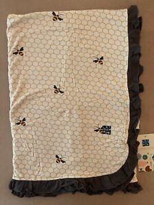 NEW Kickee Pants Ruffle Toddler Blanket in Natural Honeycomb