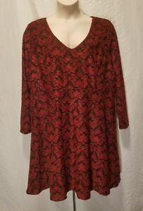 New-Jessica-Simpson-Women-039-s-Plus-Size-2X-Dress-Red-Black-Long-Sleeve-Dress