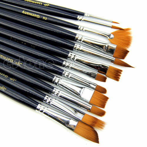 12Pcs Nylon Hair Paint Brush Set Artist Watercolor Acrylic Oil Painting Suppl…