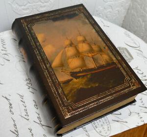 Buchattrappe-Geschenkbox-Buch-Schatulle-Safe-Kiste-Antik-Stil-Fregatte-H33cm