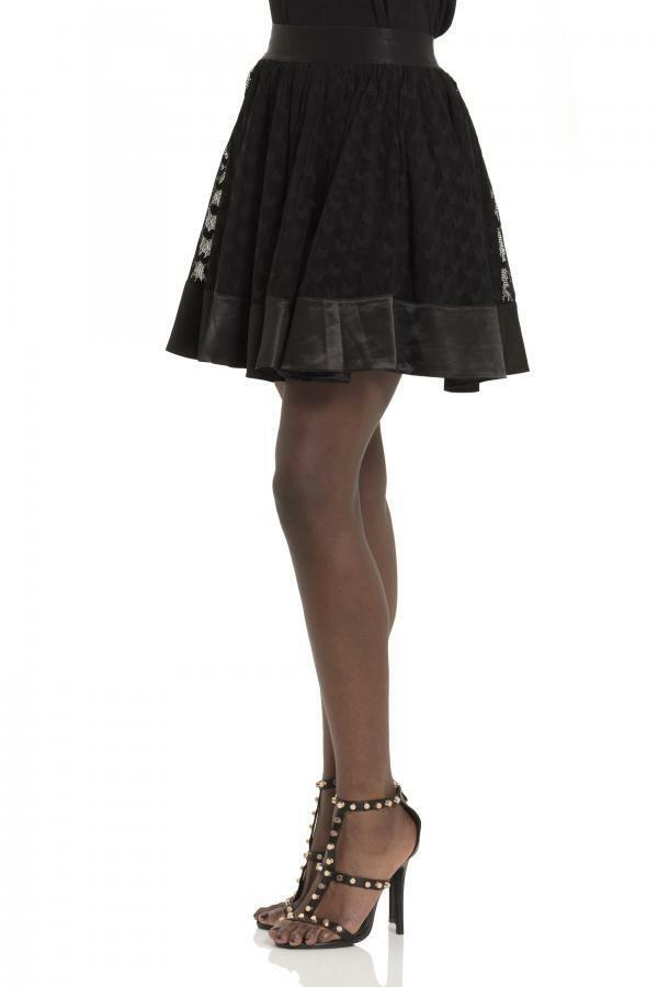 Falda negra encaje corazones cintura elastica Heartcore skirt Jawbreaker SKA3362