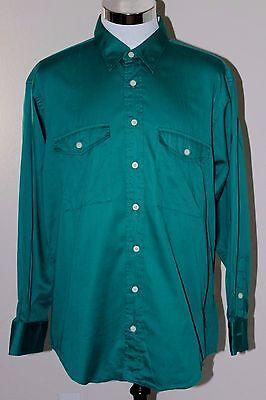 Burberrys Mens Shirt Made in USA Long Sleeve Solid Green Sz XL EUC