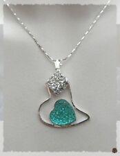 Pendentif Coeur Bleu Losange Strass Crystal Métal Argenté
