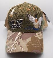 Duck Hunting Hunter Own The Woods Ball Cap Hat In Green Air Mesh & Camo H32