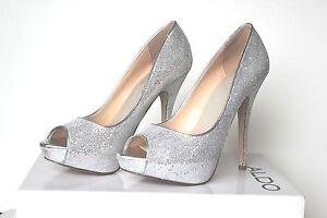 86ce8b6ee357 ALDO Hayth Silver Glitter Peep Toe Platform Heels 37 B Very Nice ...