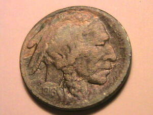 1916-S-Buffalo-Nickel-5C-VF-Very-Fine-Nice-Old-Tone-USA-Indian-Five-Cent-Coin