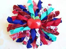 """NEW Custom """"SCHOOL APPLE ABC's"""" Red & Blue bOuTiQuE Korker Hair Bow"""