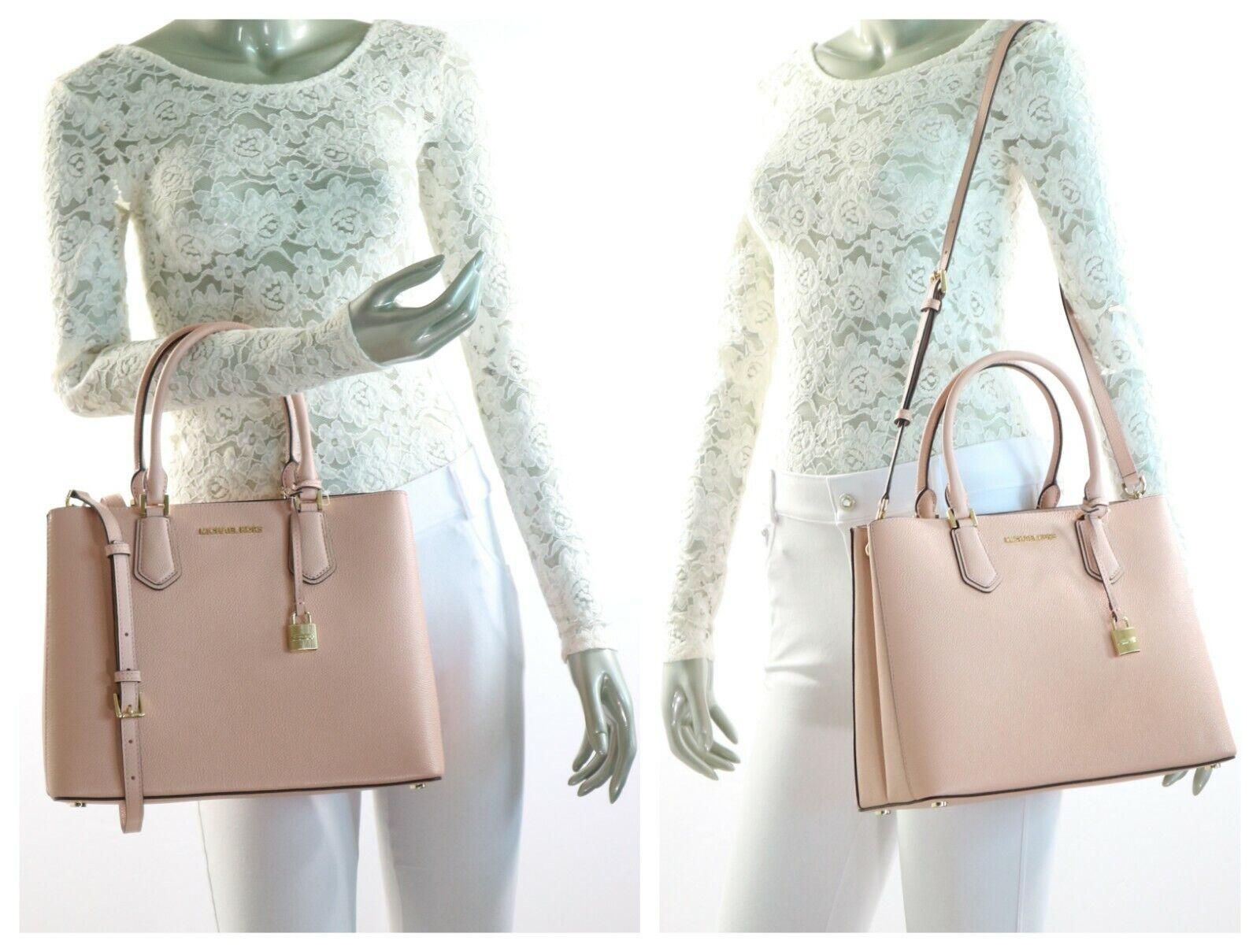 78ac52db08db Michael Kors Adele Mercer Large Satchel Pastel Pink Ballet Leather  Crossbody Bag