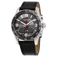 Victorinox Swiss Army Chrono Classic Dark Grey Dial Black Leather Mens Watch