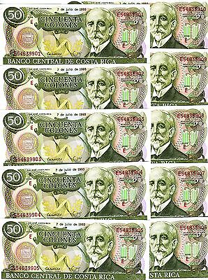 P-257 Unc -> The Last 7-7-1993 Lovely Lot Costa Rica 10 X 50 Colones