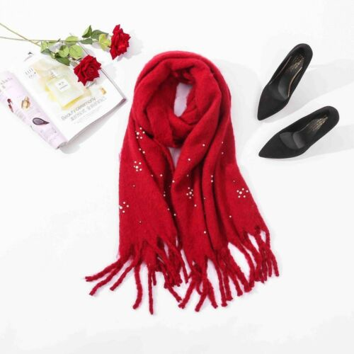 Ladies Pearl Long Chunky Knitted Wool look Scarf Womens Winter Fashion Accessory