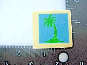 Tropical Palm Tree Beach Rubber Stamp Wood Mount New