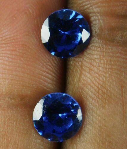3 Cts Natural Precious Round Cut African Blue Sapphire Loose Gemstone Pair