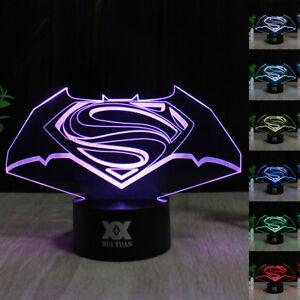 Image Is Loading DC Batman Vs Superman LOGO 3D Acrylic LED