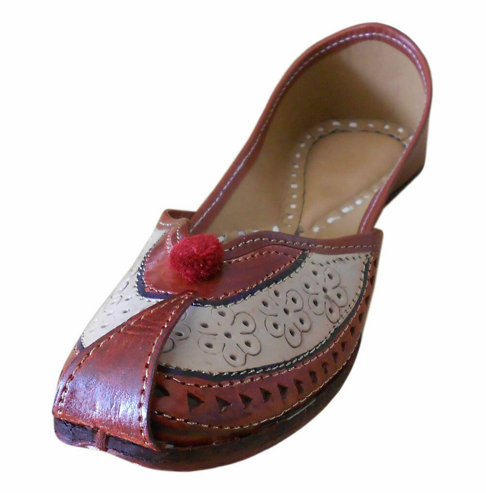 Women shoes Handmade Indian Traditional Mojari Moccasins Brown UK 4 EU 37