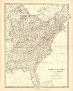 Details about 1880 ANTIQUE MAP - UNITED STATES, EASTERN STATES