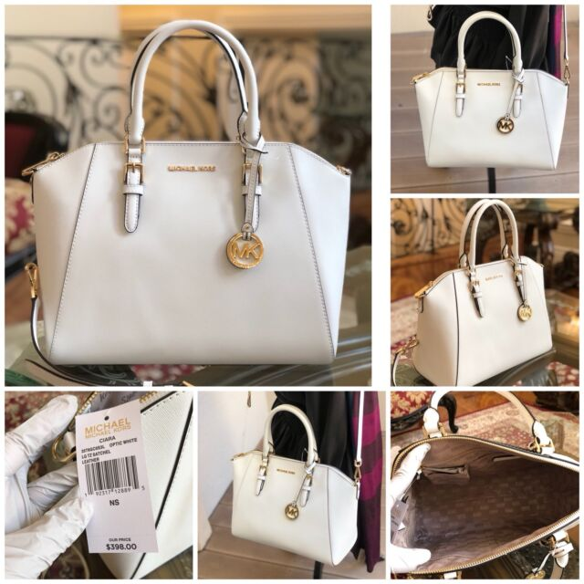 Nwt Authentic Michael Kors Large Tz Leather Handbag Satchel Optic White